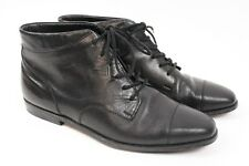 NATURALIZER Vintage 90s Black Leather Lace up Low Heel Ankle Riding Boot Women 8