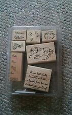 Vintage Stampin Up 2004 Welcome Little One 7 Stamp Set in Plastic Case Nice