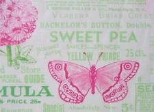 Sausalito Cottage Lime Pink Butterfly Garden Words Lakehouse Fabric Yard