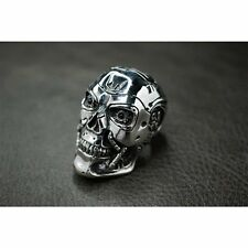 Heavy Solid 925 Sterling Silver T800 Skull Ring For Terminator Arnold Amazon Fan