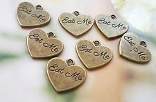 Eat Me Charms Pendants Tags Word Charms Tea Party Charms Antiqued Bronze 10pc