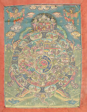 fine antique Tibet Buddha Thangka scroll painting King Yama Karma wheel