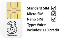 Three Sim Card Triple Standard/Micro/Nano PAYG Voice Sim with £10 credit 3G/4G