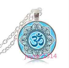 Om Pendant , Lotus Flower Necklace , Namaste Yoga Jewelry , silver  ^XP-1130