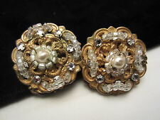 "Rare Vtg 1"" Signed Miriam Haskell Hand Wired Crystal Faux Pearl Clip Earrings"
