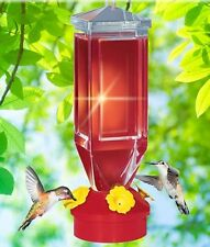 Lantern Style Hummingbird Feeder Hanging Red w/ Yellow Flowers No Drip Base