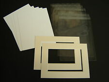 """16x12"""" Picture & Photo Mount & back & clear bag kit - Nice white quality bevels"""
