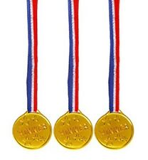 144x Children Gold Plastic Winners Medals Sports Day Party Bag Prize Awards Toy