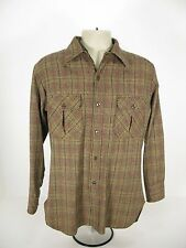 Mens Vintage Pendleton 100% wool Button Front Long Sleeve Shirt USA Medium M