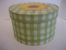 Green & White Checkerboard Round Storage Box with Sunflower on Top 8 1/2 in.R NW