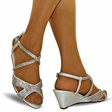 NEW Ladies Party Bridal Diamante Ankle Straps Low Wedge Heel Shoes Sandal Size