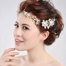 Silver Crystal Pearls Flower Hair Pin Wedding Bridal Headband Comb Hairpin Clip