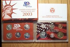 2003 S DIE CLASH ERROR 10 COIN SILVER PROOF SET WITH OGP AND COA  1