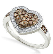 Wow..Big! 100% 14K White Gold Chocolate Brown & White Diamond Heart Ring .50ct