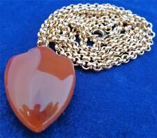 Antique Victorian Carnelian Shield Shaped Fob Pendant Gold Plated 22 in Chain