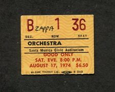 1974 Frank Zappa concert ticket stub CA Apostrophe Dont Eat The Yellow Snow