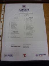 07/08/2012 Color teamsheet: Rangers V East Fife [cu Liga escocesa comunidades