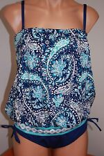 NWT 24th & Ocean by VM Swimsuit Tankini 2pc set Size L Navy Blouson Bandeaukini