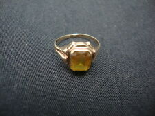 Antique BDA 10k Gold Ring Yellow Topaz Stone/Gem 3 grams sz 4 Budlong Docherty