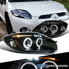 Mitsubishi 06-11 Eclipse LED Halo Projector Headlights Lamp Black