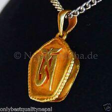 Gau Medaillon Anhänger kleines Amulett Dharma Tibetisches OM Buddha Gold  45