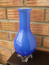 Old Blue Cased Glass Vase with Clear Glass Base/Feet Scandinavian or Italian ?