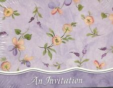 """""""An Invitation"""" Floral 8 Pack Party Cards Purple Blue Orange Birthday Flower"""