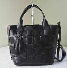 Michael Kors Black Woven Leather Vivian Medium Tote