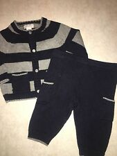 BABY BOYS SIZE 3 MONTHS PIPER & POSIE NAVY BLUE GRAY KNIT WINTER OUTFIT SET SWEA