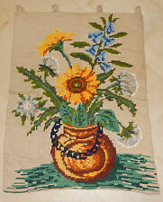 ANTIQUE VICTORIAN BERLIN WOOLWORK FLOWER EMBROIDERY TAPESTRY (A16)