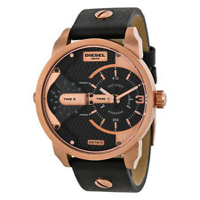 Diesel Mini Daddy Black Dual Time Dial Black Ion-plated Mens Watch DZ7317