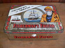 "vintage fisherman's friend old tin box lofthouse's original 14"" x 10"" x 4.5"""