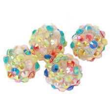 24pcs Lots Mixed AB Colorful Resin Rhinestones Spacer Bead Fit Jewelry Making L