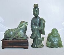 3 Antique Chinese Carved Green Serpentine Kwan-Yin, Buddha & Foo Dog on Stand
