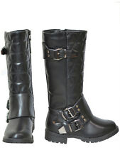 New Girls Kids Knee High Quilted Buckle Boots Black Size 3