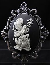 Antiqued Silver Plated Resin Garden Fairy Cameo Pendant