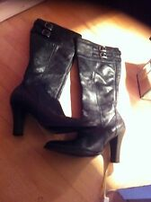 dolcis Black High Leather Boots Size 5