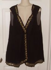 Woman Black/Gold Sequin Sleeveless Sheer Gathered Tunic Top Blouse Plus 3X NEW!