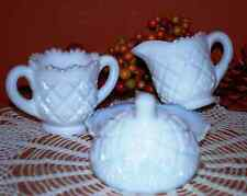 Westmoreland Milk Glass Child's Thumbelina Creamer, Sugar Bowl, & Butter Dish