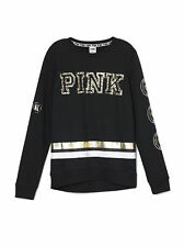 NWT VICTORIA SECRET PINK Black Sequin Bling Crew Sweatshirt Pullover XS NEW