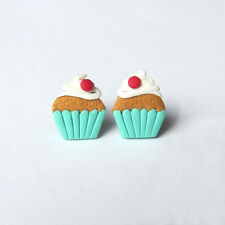 Polymer Clay Stud Summer Muffin Cupcake Kawaii Funny Miniature Food Earrings