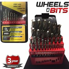 25pc Hss Drill Bit Set in Metal Storage Box - Precision Ground - Sizes 1 - 13mm