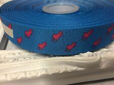 New 1 Metre Horse Print Polo Grosgrain Ribbon Designer 22mm Cakes Bow Dummy Blue
