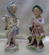 Pair of Decorative Estate Found Vintage Porcelain Girls w. Fruit & Bird Statues