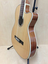 "Caraya 39"" Thin-body Semi-Classical Guitar EQ Cutaway Natural + Free Gig Bag"
