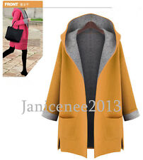Plus Size Winter Wool Blend Long Trench Coat Fashion Hooded Jacket Hoodie Parka