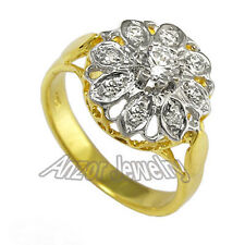 Russian Style 18k Solid Yellow & White Gold Diamond Ring SIZE 4 to 9.5 #R1574