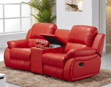 Ledersofa Kinosofa Relaxcouch Fernsehsofa Recliner rot 5129-Cup-2-8401