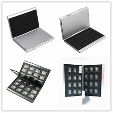 SILVER ALUMINUM MEMORY CARD Storage Case Box titolari PER MICRO SD CARD 24tf