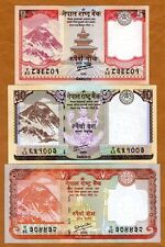 SET Nepal, 5;10;20 Rupees, 2012, P-New, Rastra Bank, UNC Everest, Animals